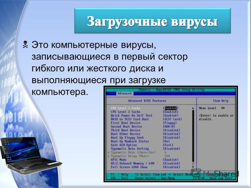 Это компьютерные вирусы, записывающиеся в первый сектор гибкого или жесткого диска и выполняющиеся при загрузке компьютера.