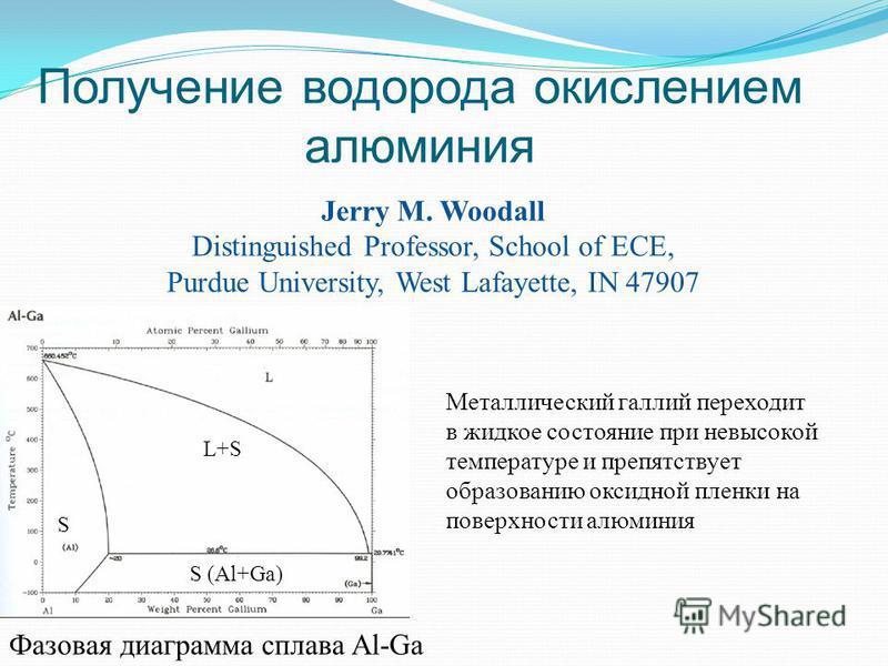 Получение водорода окислением алюминия Jerry M. Woodall Distinguished Professor, School of ECE, Purdue University, West Lafayette, IN 47907 Металлический галлий переходит в жидкое состояние при невысокой температуре и препятствует образованию оксидно