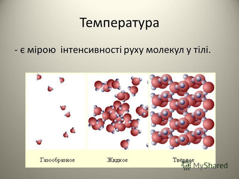 Температура - є мірою інтенсивності руху молекул у тілі.