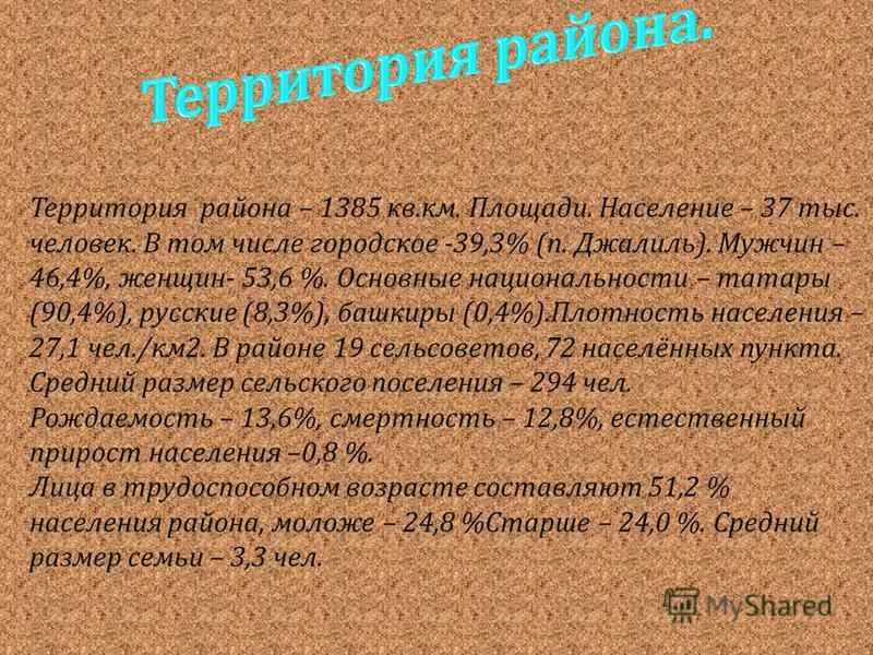 Территория района – 1385 кв. км. Площади. Население – 37 тыс. человек. В том числе городское -39,3% ( п. Джалиль ). Мужчин – 46,4%, женщин - 53,6 %. Основные национальности – татары (90,4%), русские (8,3%), башкиры (0,4%). Плотность населения – 27,1