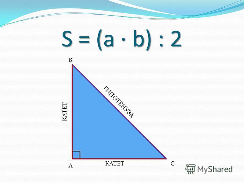 S = (a · b) : 2 А В С КАТЕТ ГИПОТЕНУЗА