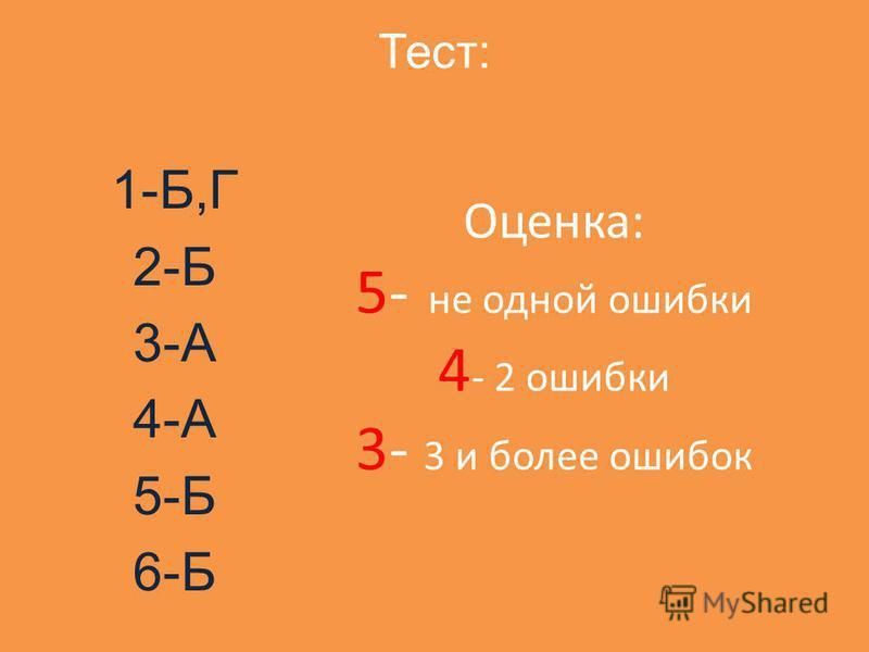 Тест: 1-Б,Г 2-Б 3-А 4-А 5-Б 6-Б Оценка: 5- не одной ошибки 4 - 2 ошибки 3- 3 и более ошибок