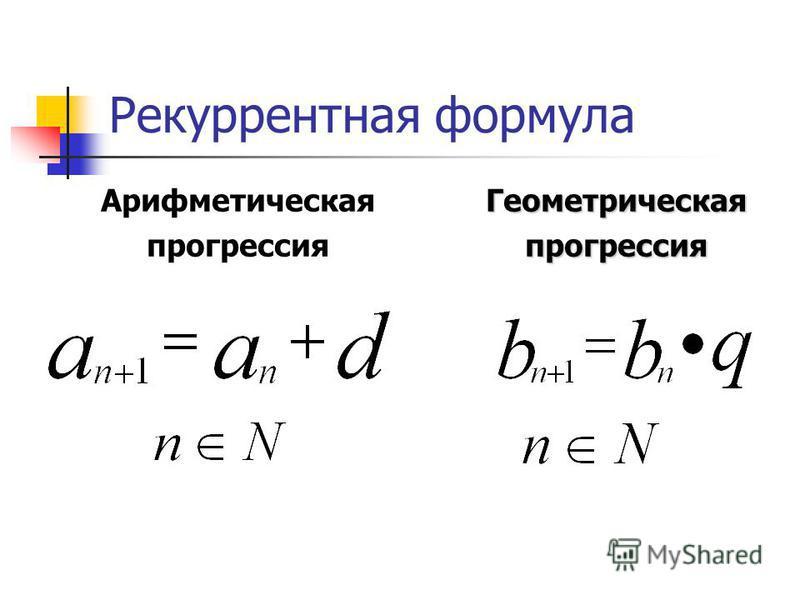 Рекуррентная формула Арифметическая прогрессия Геометрическаяпрогрессия