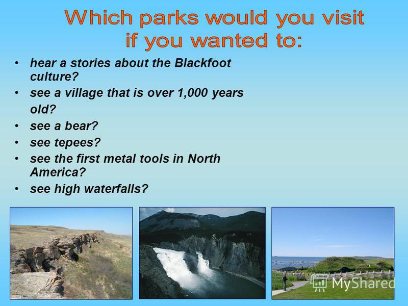hear a stories about the Blackfoot culture? see a village that is over 1,000 years old? see a bear? see tepees? see the first metal tools in North America? see high waterfalls?