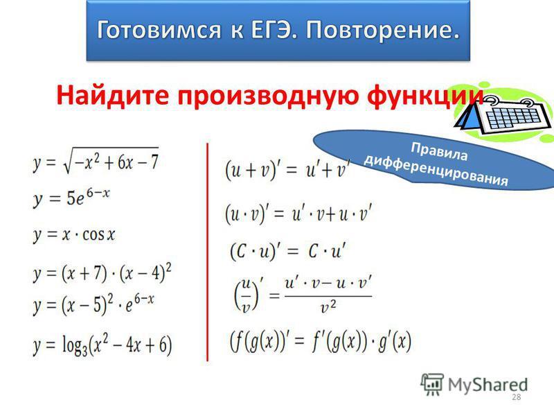 28 Найдите производную функции Правила дифференцирования
