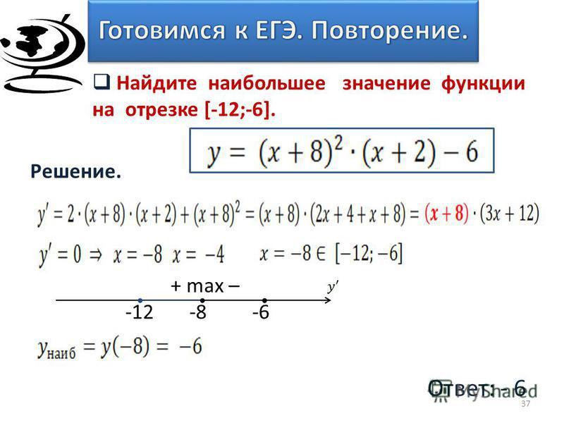 Решение. 37 Найдите наибольшее значение функции на отрезке [-12;-6]. Ответ: - 6 + max – -12 -8 -6