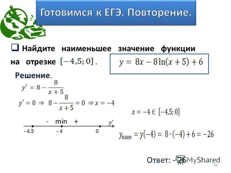 Найдите наименьшее значение функции на отрезке. 38 Решение. Ответ: - 26 - min + - 4,5 - 4 0