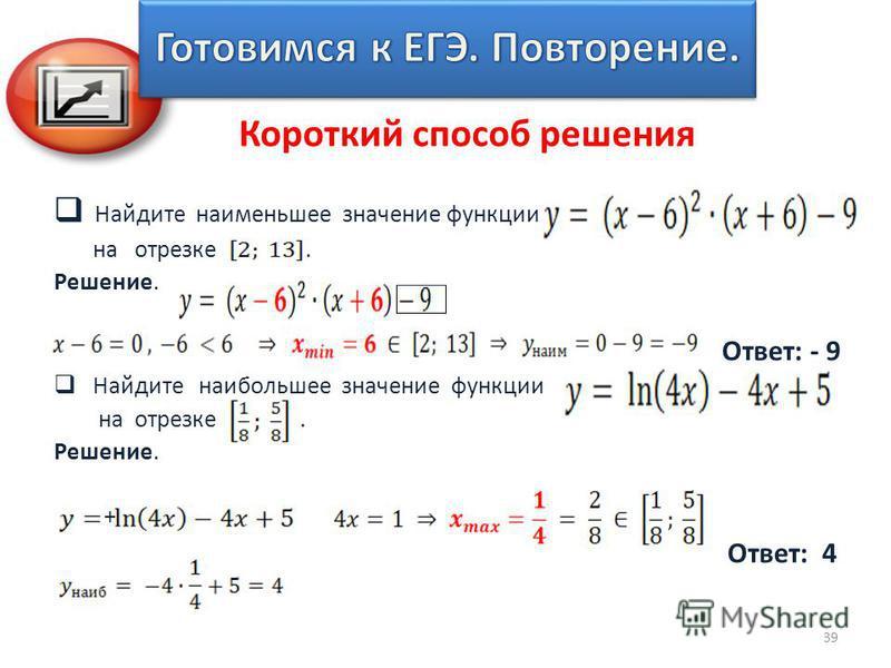 Найдите наименьшее значение функции на отрезке. Решение. Ответ: - 9 Найдите наибольшее значение функции на отрезке. Решение. + Ответ: 4 39 Короткий способ решения