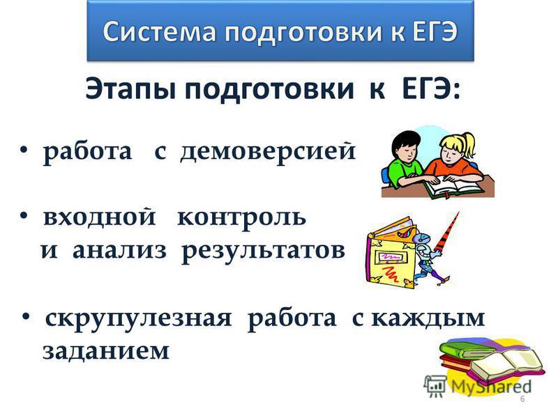 Этапы подготовки к ЕГЭ: работа с демоверсией входной контроль и анализ результатов скрупулезная работа с каждым заданием 6