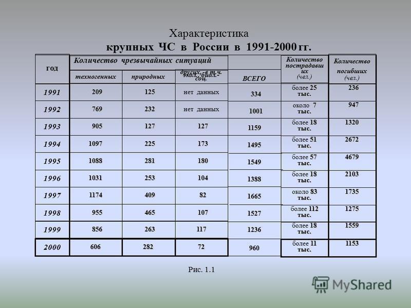 Характеристика крупных ЧС в России в 1991-2000 гг. год 1991 1992 1993 1994 1995 1996 1997 1998 1999 2000 техногенных природных других, в т.ч. экол., биол.- соц. 209 209 769 769 905 905 1097 1088 1031 1174 955 955 125 125 232 232 127 127 225 225 281 2