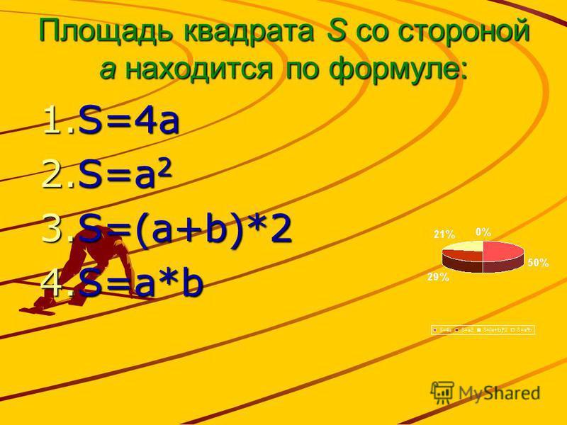 Площадь квадрата S со стороной а находится по формуле: 1.S=4a 2.S=a 2 3.S=(a+b)*2 4.S=a*b
