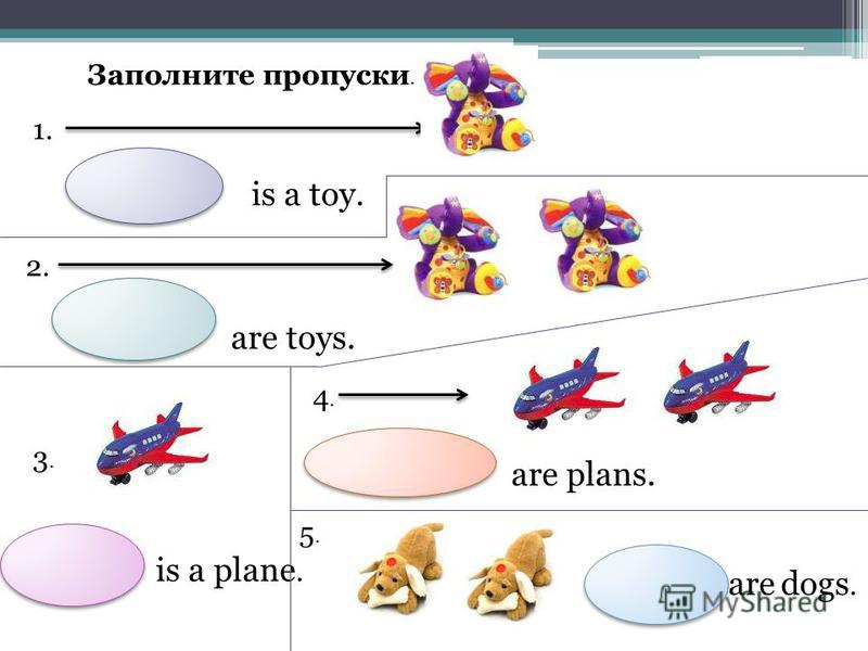Заполните пропуски. 1. is a toy. 2. are toys. 3.3. is a plane. 4. are plans. 5.5. are dogs.