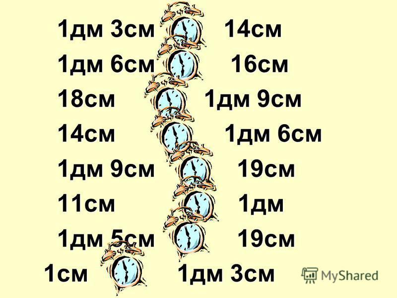 1дм 3см < 14см 1дм 3см < 14см 1дм 6см = 16см 1дм 6см = 16см 18см < 1дм 9см 18см < 1дм 9см 14см < 1дм 6см 14см < 1дм 6см 1дм 9см = 19см 1дм 9см = 19см 11см > 1дм 11см > 1дм 1дм 5см < 19см 1дм 5см < 19см 1см < 1дм 3см