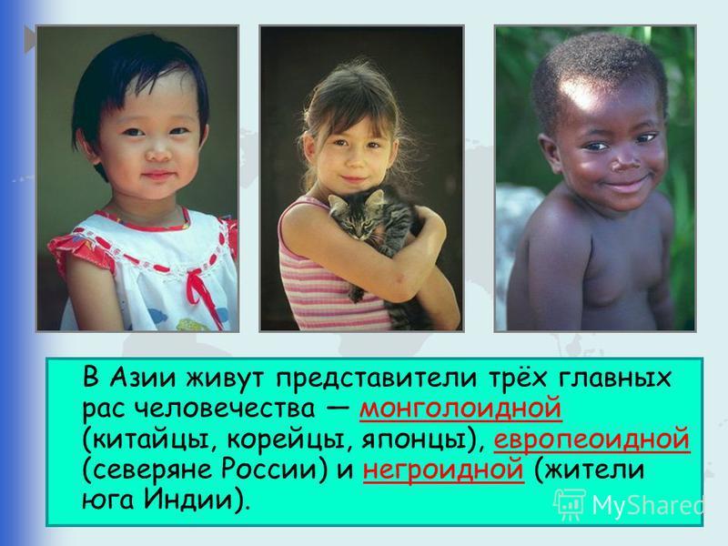 В Азии живут представители трёх главных рас человечества монголоидной (китайцы, корейцы, японцы), европеоидной (северяне России) и негроидной (жители юга Индии).