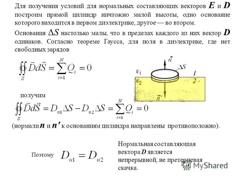 Для получения условий для нормальных составляющих векторов Е и D построим прямой цилиндр ничтожно малой высоты, одно основание которого находится в первом диэлектрике, другое во втором. Основания ΔS настолько малы, что в пределах каждого из них векто