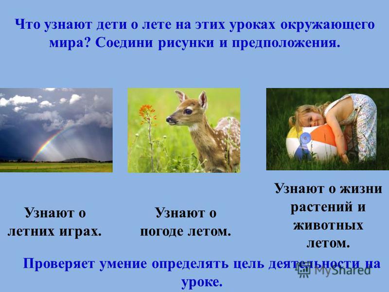 Проверяет умение определять цель деятельности на уроке. Узнают о летних играх. Узнают о погоде летом. Узнают о жизни растений и животных летом. Что узнают дети о лете на этих уроках окружающего мира? Соедини рисунки и предположения.