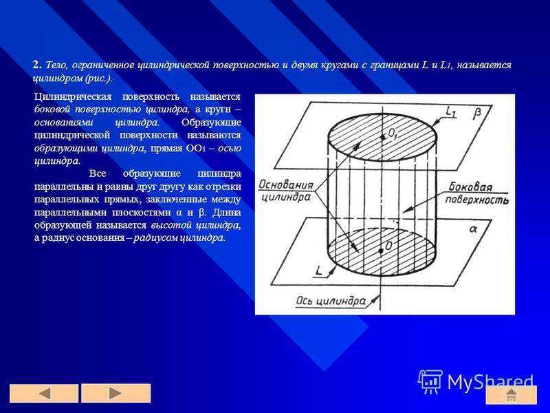 2. Тело, ограниченное цилиндрической поверхностью и двумя кругами с границами L и L 1, называется цилиндром (рис.). Цилиндрическая поверхность называется боковой поверхностью цилиндра, а круги – основаниями цилиндра. Образующие цилиндрической поверхн