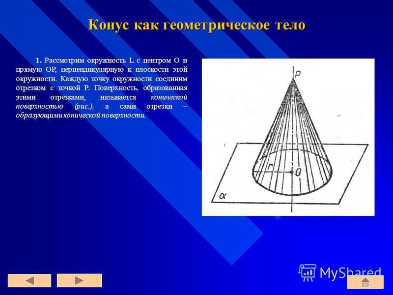 Конус как геометрическое тело 1. Рассмотрим окружность L с центром O и прямую OP, перпендикулярную к плоскости этой окружности. Каждую точку окружности соединим отрезком с точкой P. Поверхность, образованная этими отрезками, называется конической пов
