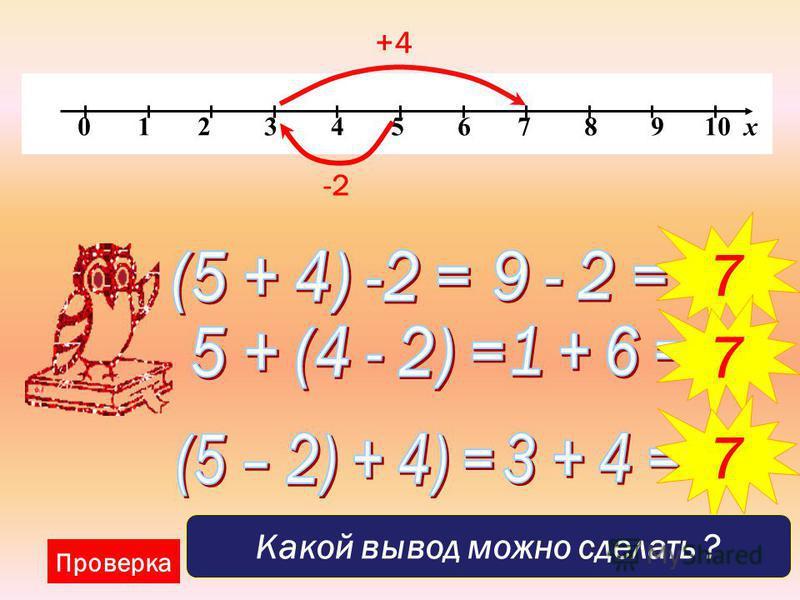 0 1 2 3 4 5 6 7 8 9 10 х Проверка -2 7 7 +4 7 Какой вывод можно сделать ?
