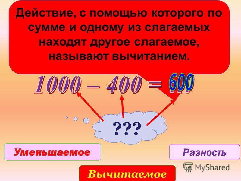 Действие, с помощью которого по сумме и одному из слагаемых находят другое слагаемое, называют вычитанием. ??? Уменьшаемое Вычитаемое Разность