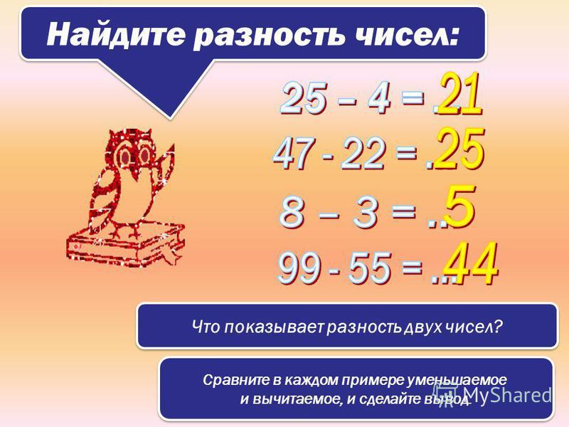 Найдите разность чисел: Что показывает разность двух чисел? Сравните в каждом примере уменьшаемое и вычитаемое, и сделайте вывод. Сравните в каждом примере уменьшаемое и вычитаемое, и сделайте вывод.