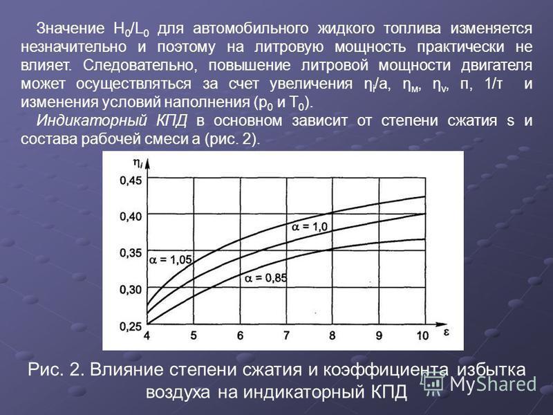 Значение H 0 /L 0 для автомобильного жидкого топлива изменяется незначительно и поэтому на литровую мощность практически не влияет. Следовательно, повышение литровой мощности двигателя может осуществляться за счет увеличения η i /a, η м, η v, п, 1/τ
