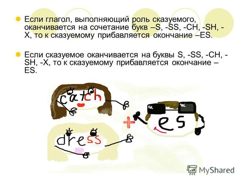 Если глагол, выполняющий роль сказуемого, оканчивается на сочетание букв –S, -SS, -CH, -SH, - X, то к сказуемому прибавляется окончание –ES. Если сказуемое оканчивается на буквы S, -SS, -CH, - SH, -X, то к сказуемому прибавляется окончание – ES.