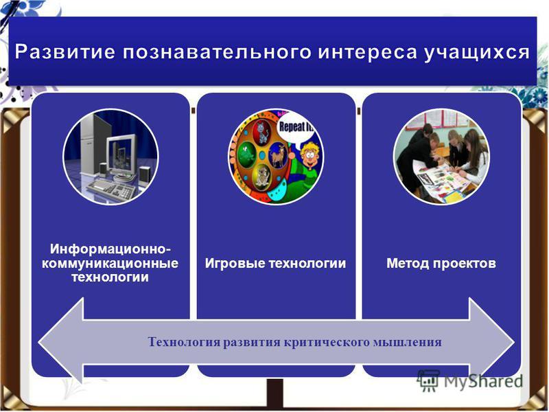 Информационно- коммуникационные технологии Игровые технологии Метод проектов Технология развития критического мышления
