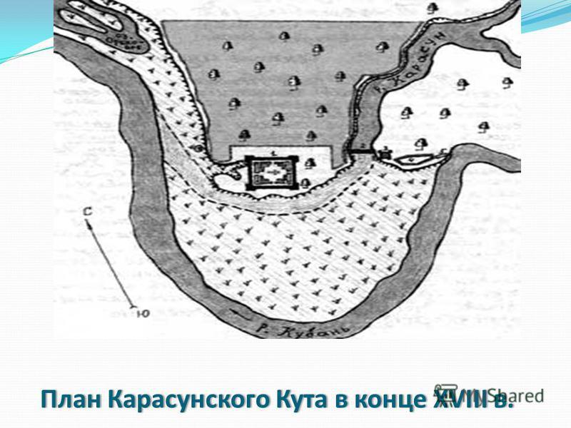 План Карасунского Кута в конце XVIII в.План Карасунского Кута в конце XVIII в.