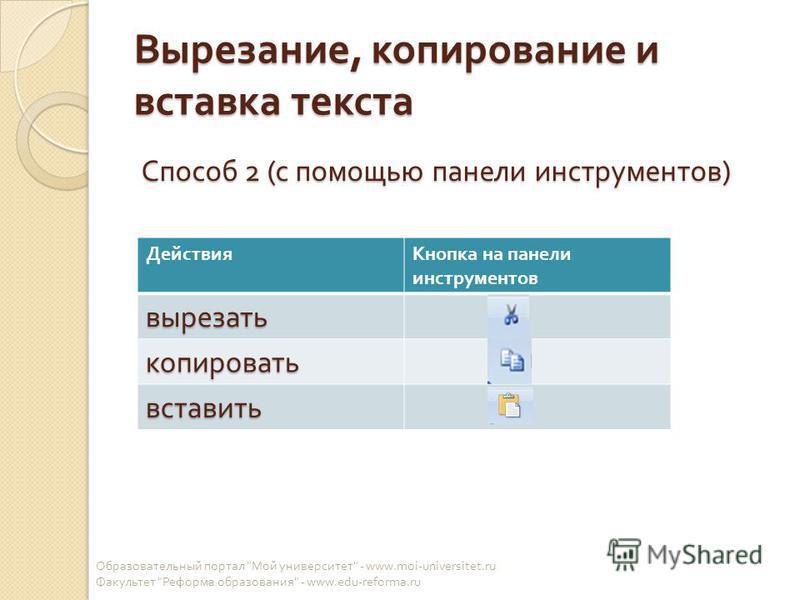 Вырезание, копирование и вставка текста Способ 2 ( с помощью панели инструментов ) Образовательный портал