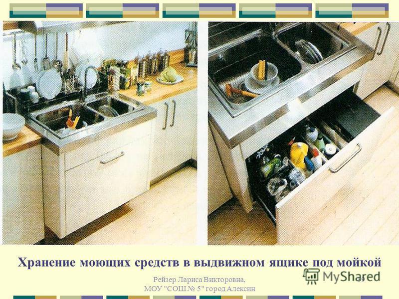 Рейзер Лариса Викторовна, МОУ СОШ 5 город Алексин 19 Хранение моющих средств в выдвижном ящике под мойкой