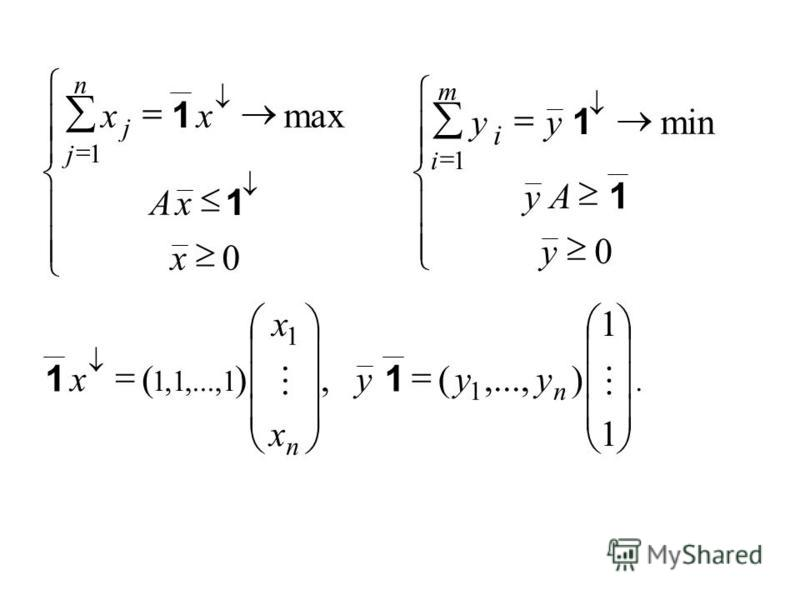 Ј Ї Ї 0 1 x xA xx n j j 1 1 max Ї 0 1 y Ay yy m i i 1 1 min Ї 1 1 1 1 111 ),...,(,)(, n n yyy x x x 11.