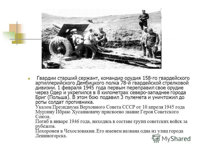 Гвардии старший сержант, командир орудия 158-го гвардейского артиллерийского Дембицкого полка 78-й гвардейской стрелковой дивизии. 1 февраля 1945 года первым переправил свое орудие через Одер и укрепился в 8 километрах северо-западнее города Бриг (По