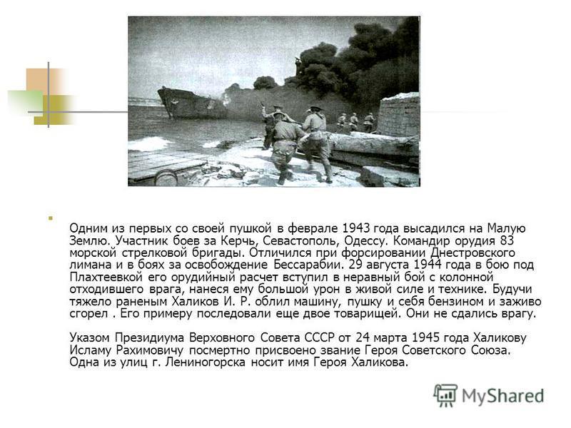 Одним из первых со своей пушкой в феврале 1943 года высадился на Малую Землю. Участник боев за Керчь, Севастополь, Одессу. Командир орудия 83 морской стрелковой бригады. Отличился при форсировании Днестровского лимана и в боях за освобождение Бессара