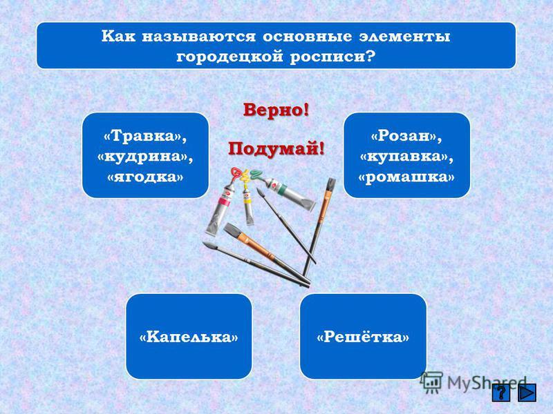 Как называются основные элементы городецкой росписи? «Травка», «кудрина», «ягодка» «Розан», «купавка», «ромашка» «Капелька»«Решётка» Верно! Подумай!