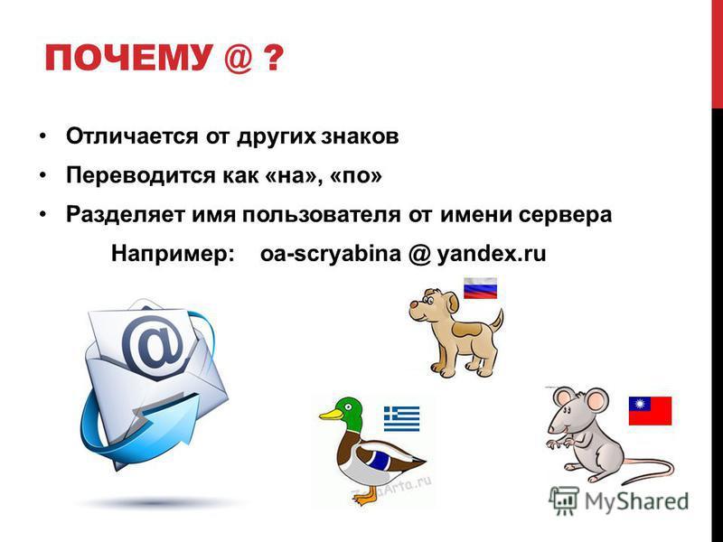 ПОЧЕМУ @ ? Отличается от других знаков Переводится как «на», «по» Разделяет имя пользователя от имени сервера Например: oa-scryabina @ yandex.ru