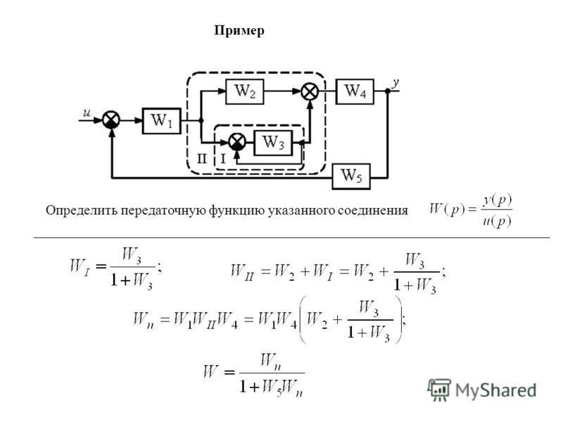 Пример Определить передаточную функцию указанного соединения