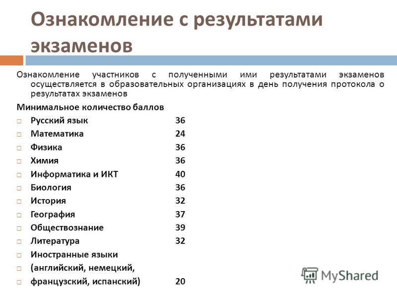 Ознакомление с результатами экзаменов Ознакомление участников с полученными ими результатами экзаменов осуществляется в образовательных организациях в день получения протокола о результатах экзаменов Минимальное количество баллов Русский язык 36 Мате
