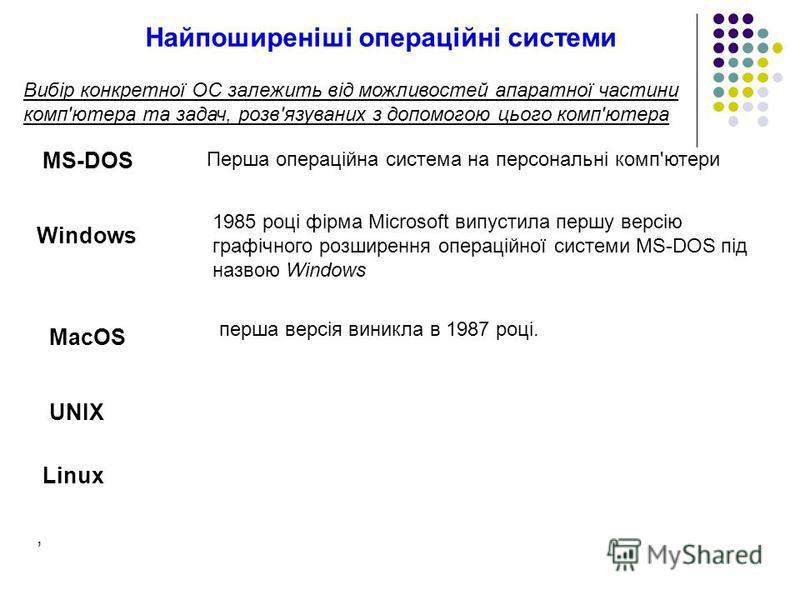 Вибір конкретної ОС залежить від можливостей апаратної частини комп'ютера та задач, розв'язуваних з допомогою цього комп'ютера UNIX MacOS перша версія виникла в 1987 році. MS-DOS 1985 році фірма Microsoft випустила першу версію графічного розширення