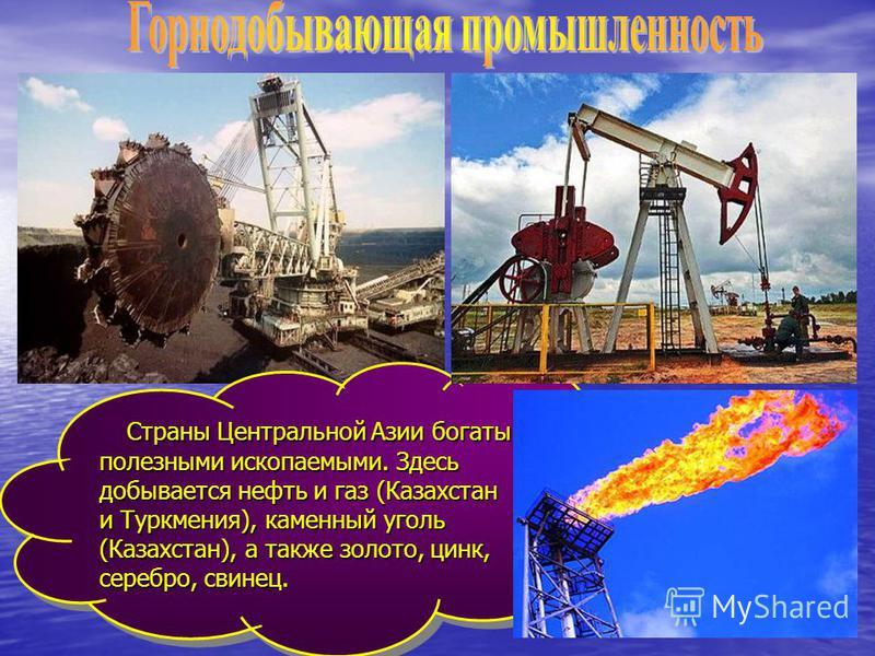 Страны Центральной Азии богаты полезными ископаемыми. Здесь добывается нефть и газ (Казахстан и Туркмения), каменный уголь (Казахстан), а также золото, цинк, серебро, свинец. Страны Центральной Азии богаты полезными ископаемыми. Здесь добывается нефт