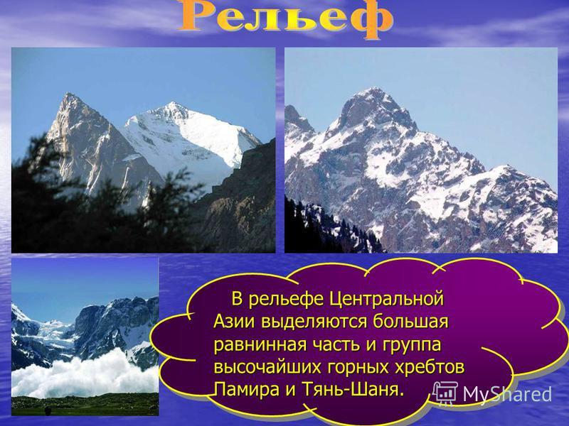В рельефе Центральной Азии выделяются большая равнинная часть и группа высочайших горных хребтов Памира и Тянь-Шаня. В рельефе Центральной Азии выделяются большая равнинная часть и группа высочайших горных хребтов Памира и Тянь-Шаня.