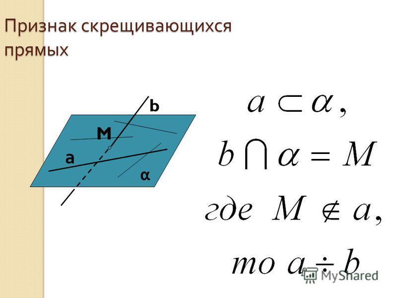 Признак скрещивающихся прямых а b M α