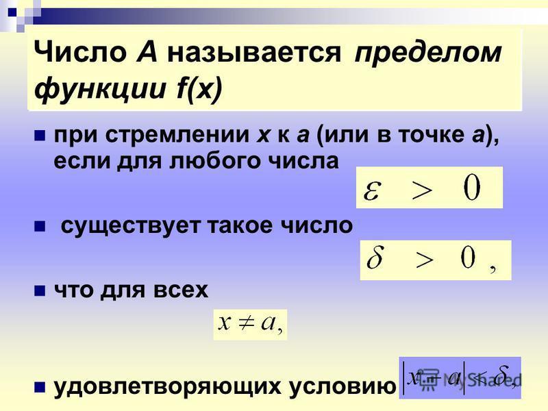 Число А называется пределом функции f(x) при стремлении х к а (или в точке а), если для любого числа существует такое число что для всех удовлетворяющих условию