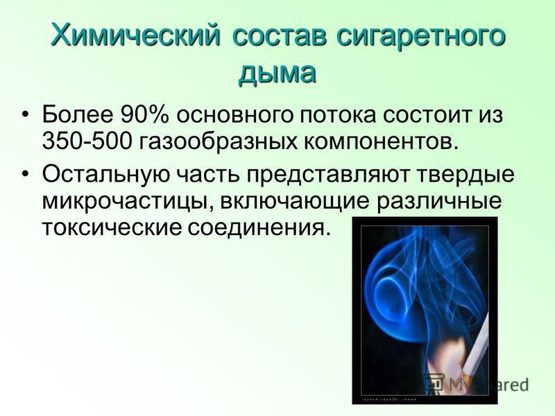 Химический состав сигаретного дыма Более 90% основного потока состоит из 350-500 газообразных компонентов. Остальную часть представляют твердые микрочастицы, включающие различные токсические соединения.