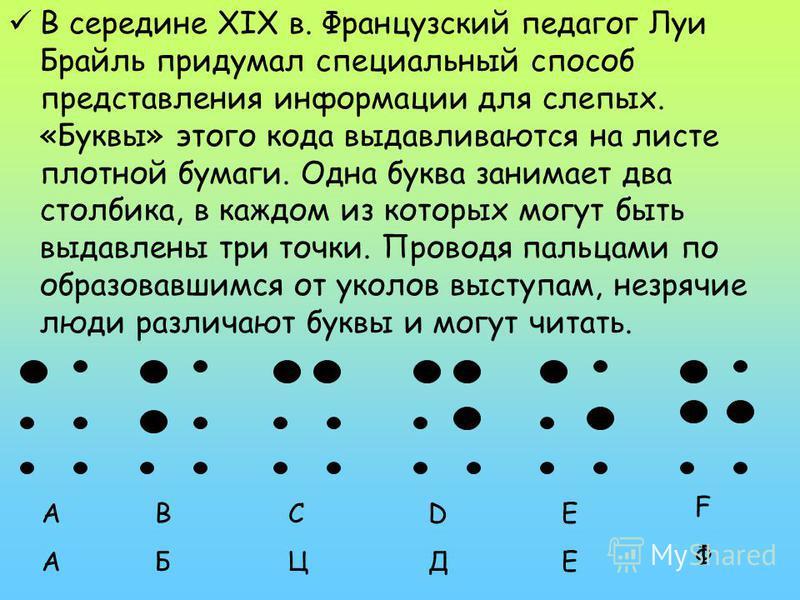 В середине XIX в. Французский педагог Луи Брайль придумал специальный способ представления информации для слепых. «Буквы» этого кода выдавливаются на листе плотной бумаги. Одна буква занимает два столбика, в каждом из которых могут быть выдавлены три
