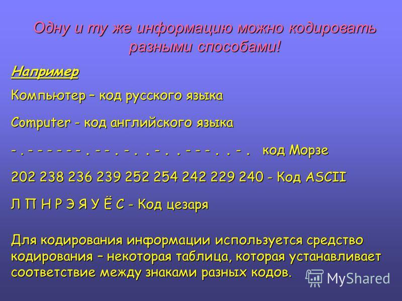 Одну и ту же информацию можно кодировать разными способами! Например Компьютер – код русского языка Computer - код английского языка -. - - - - - -. - -. -.. -.. - - -.. -. код Морзе 202 238 236 239 252 254 242 229 240 - Код ASCII Л П Н Р Э Я У Ё С -