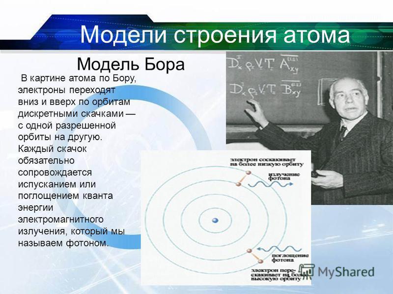 В картине атома по Бору, электроны переходят вниз и вверх по орбитам дискретными скачками с одной разрешенной орбиты на другую. Каждый скачок обязательно сопровождается испусканием или поглощением кванта энергии электромагнитного излучения, который м