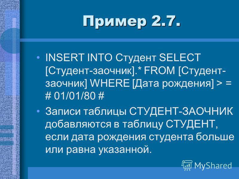 Пример 2.7. INSERT INTO Студент SELECT [Студент-заочник].* FROM [Студент- заочник] WHERE [Дата рождения] > = # 01/01/80 # Записи таблицы СТУДЕНТ-ЗАОЧНИК добавляются в таблицу СТУДЕНТ, если дата рождения студента больше или равна указанной.
