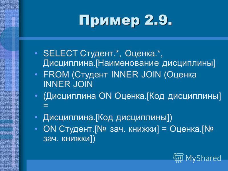Пример 2.9. SELECT Студент.*, Оценка.*, Дисциплина.[Наименование дисциплины] FROM (Студент INNER JOIN (Оценка INNER JOIN (Дисциплина ON Оценка.[Код дисциплины] = Дисциплина.[Код дисциплины]) ON Студент.[ зач. книжки] = Оценка.[ зач. книжки])