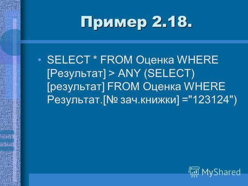 Пример 2.18. SELECT * FROM Оценка WHERE [Результат] > ANY (SELECT) [результат] FROM Оценка WHERE Результат.[ зач.книжки] =123124)